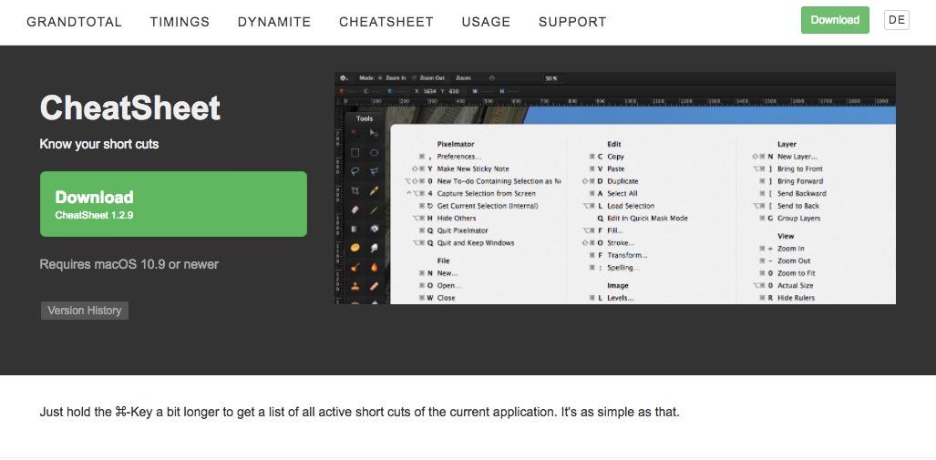 「CheetSheet」でMacのショートカットは完璧!使用中のアプリのショートカットを表示してくれる神アプリ