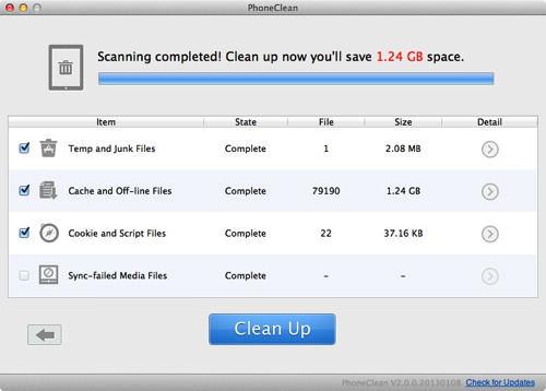 phoneclean 3 iOS端末のキャッシュや不要なファイルを削除して空き容量を確保する「PhoneClean」