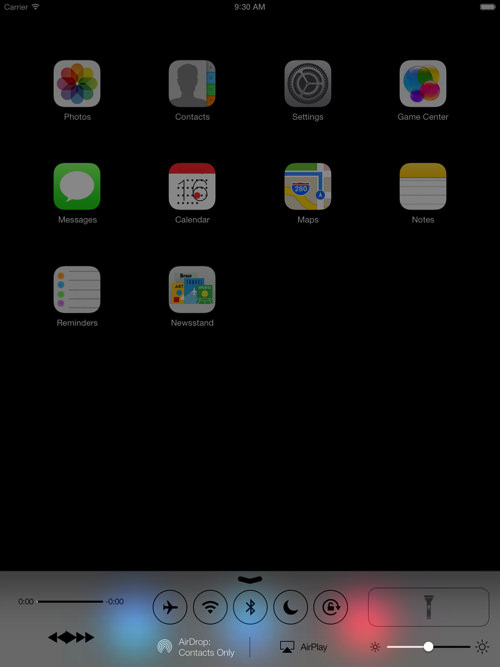 IOS7 ipad controlcenter