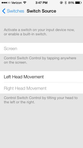 Ios7 head movements