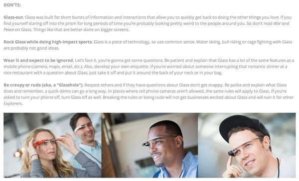 Google glass guidline
