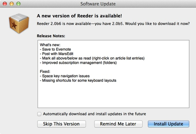 Reeder2 for mac update 1