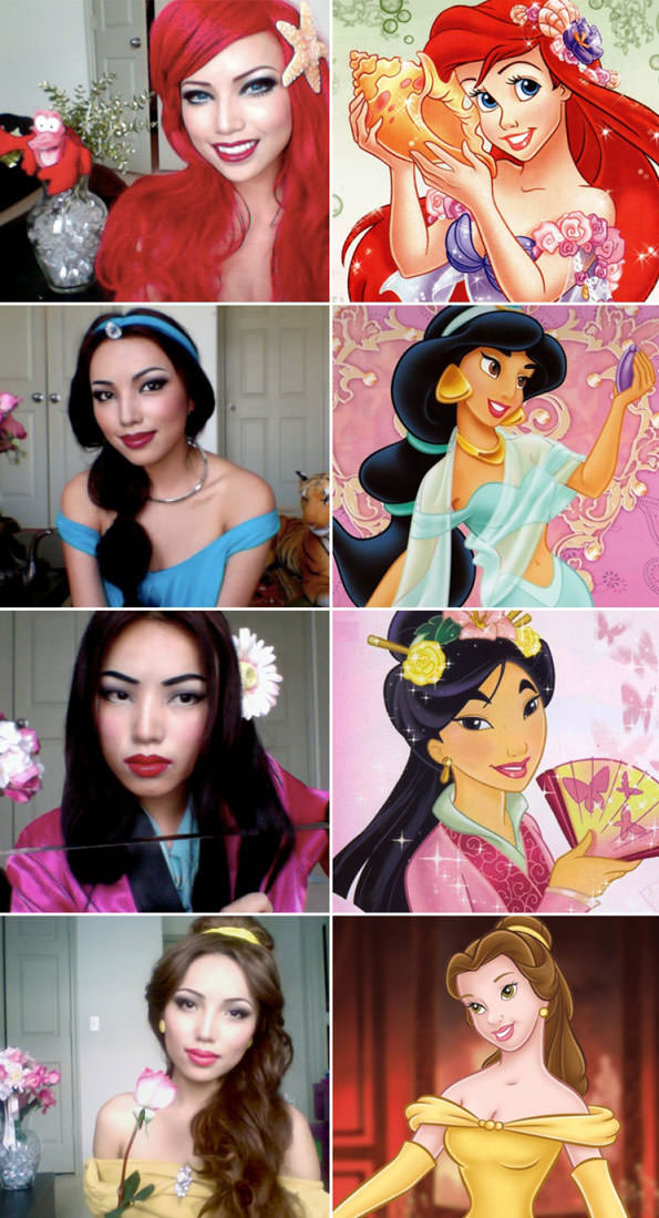 Disney princess make up transformation