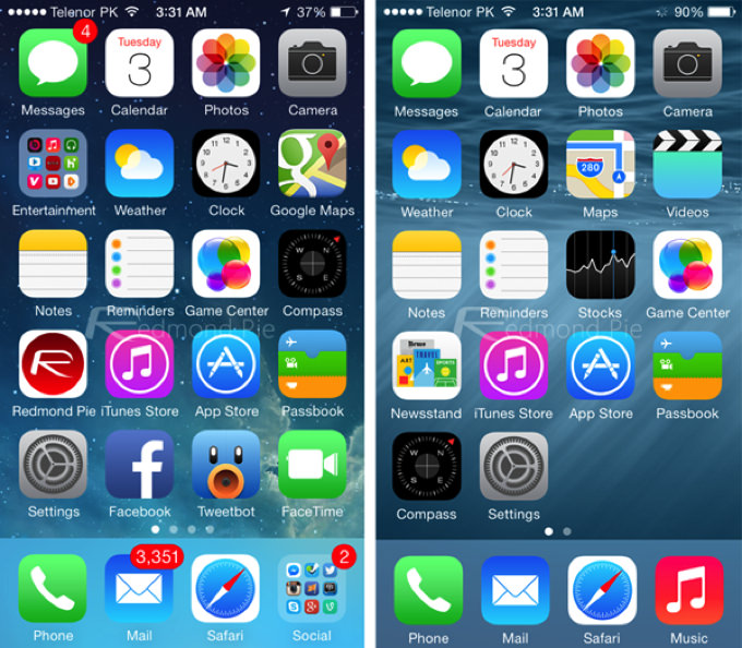 IOS 7 8 Visual Comparison 1