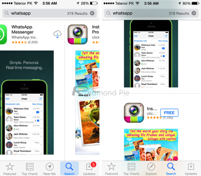 IOS 7 8 Visual Comparison 12