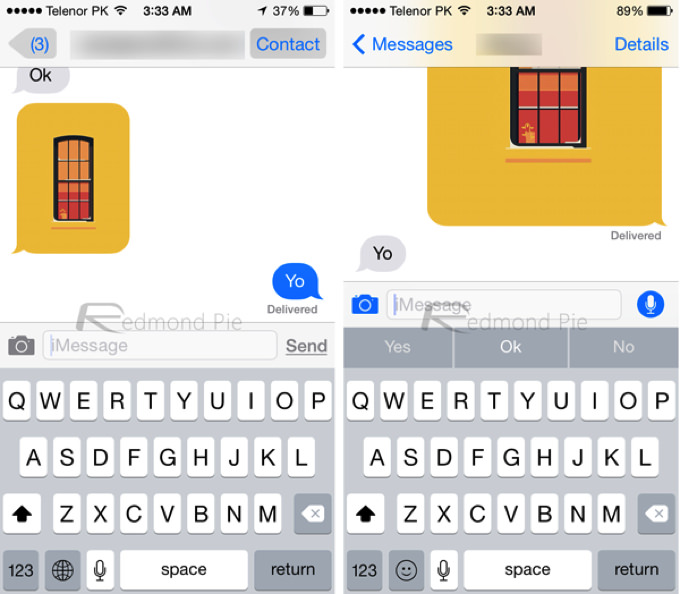 IOS 7 8 Visual Comparison 2