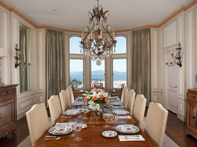 The dining room provides a great view of the water