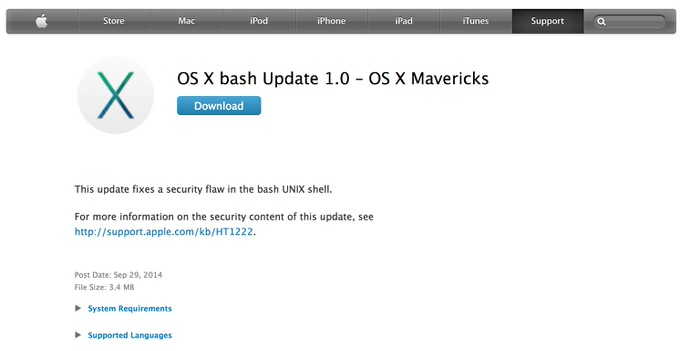 Osx update shellshock