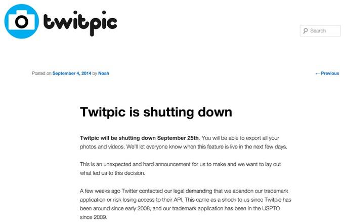 Twitpic shutdown