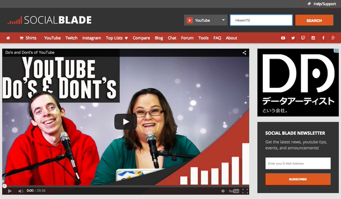 Website socialblade 1