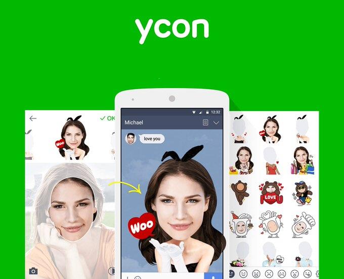 自撮り写真をLINEのスタンプにできる「ycon(ワイコン)」が公開