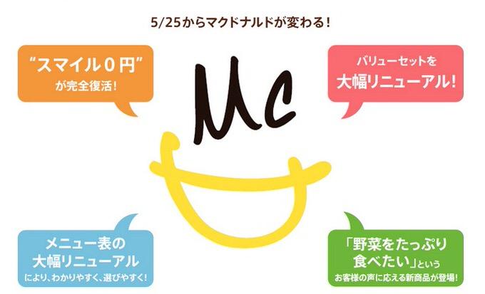 Mcdonald smile 0 yen
