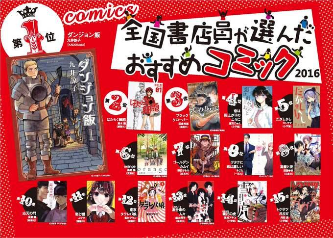 「全国書店員が選んだおすすめコミック2016」発表!「ダンジョン飯」がまたも1位