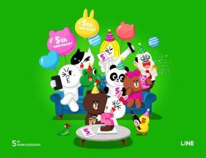 LINE、サービス開始から5周年を記念してLINEキャラスタンプ半額などの1日限定キャンペーンを開催!