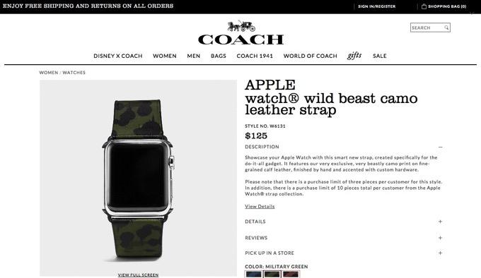 COACH、Apple Watchのバンドを発売!価格は125ドル〜