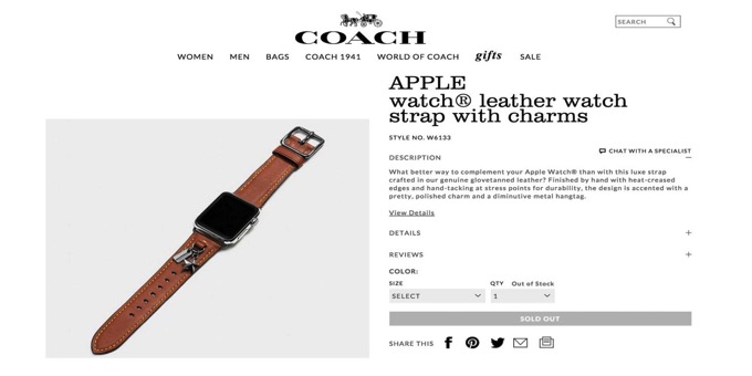 Coach leather strap charms