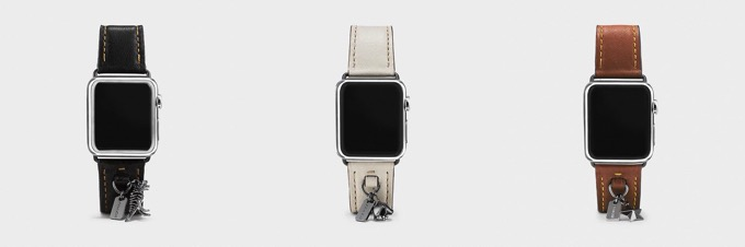 Leather watch strap with charms