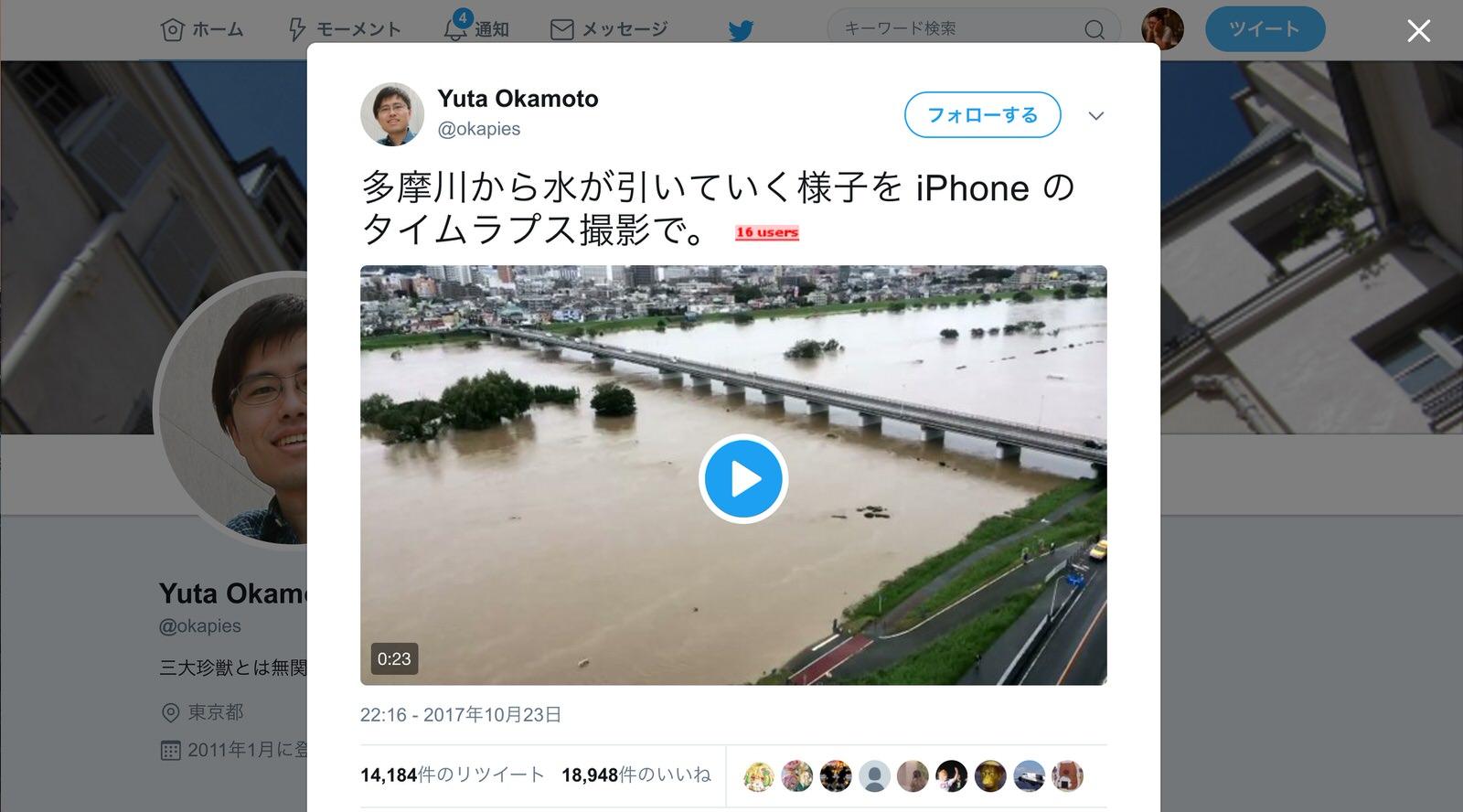 「こんなやばかったんだ」台風で増水した多摩川の水が引いていくタイムラプス動画に反響