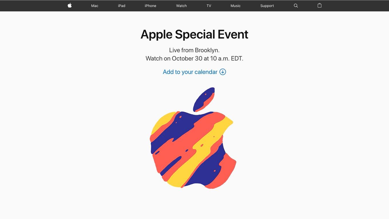 Apple、10月30日にスペシャルイベントを開催 今回は日本時間23時から