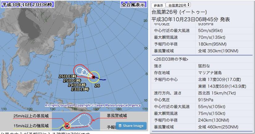 台風26号、各国の進路予想は?26日には「猛烈な」勢力に成長する見込み