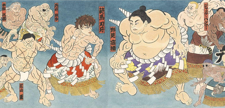 新宿駅&新橋駅に「刃牙」シリーズの主要キャラを浮世絵師が描いた巨大広告が出現