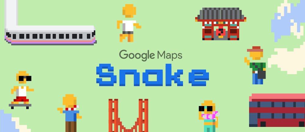 Googleマップ「ヘビゲーム」追加、世界中を舞台に懐かしのアーケードゲーム
