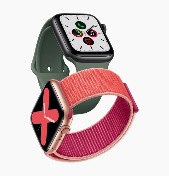 Apple_watch_series_5-gold-aluminum-case-pomegranate-band-and-space-gray-aluminum-case-pine-green-band-091019