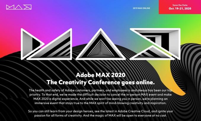 「Adobe MAX 2020」オンライン開催へ、誰でも無料で参加可能