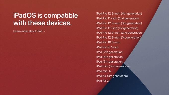 「iPadOS 14」対応製品リストを公開、iPadOS 13と変わらず