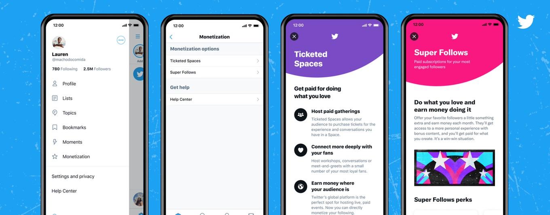 Twitter、「チケット制スペース」と「スーパーフォロー」を提供開始